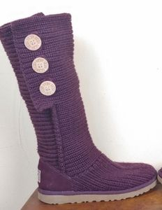 UGG Chunky Cable Knit Purple Knee High Boots